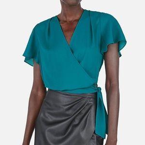 Express surplice tie waist wrap top blouse